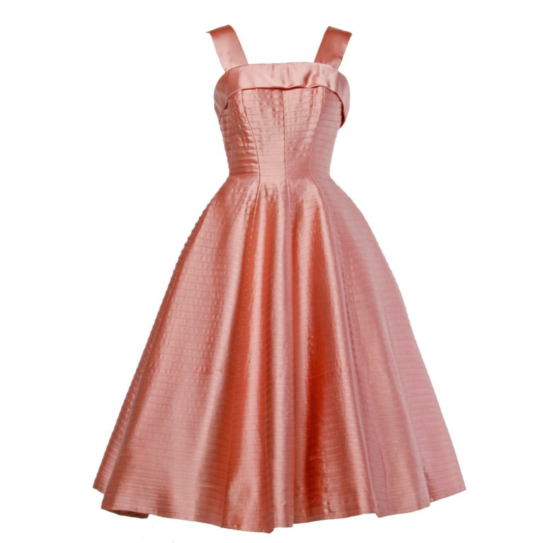 Vintage 1950s 50s Heavy Satin Pin Tuck Party Dress With A