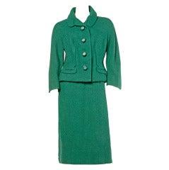 Hattie Carnegie Vintage 1950s 50s Green Wool 2-Pc Suit- Jacket + Skirt