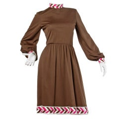 Signed Paganne Vintage 1970s 70s Border Print Jersey Knit Shirt Dress