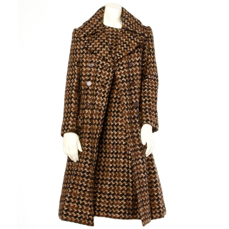 Adele Simpson Vintage 1960's 60s Houndstooth Brown Wool Coat   ...