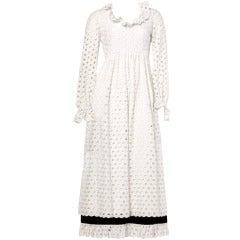 Teal Traina Vintage 1960s 60s Black White Cut Out Lace Long Wedding Maxi Dress