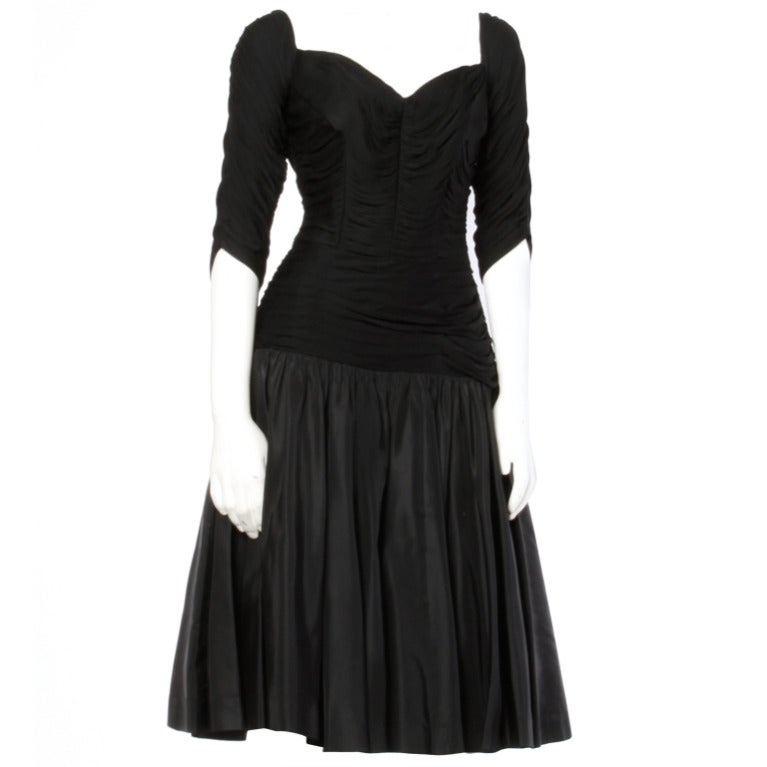 Vintage 1950's 50s Black Ruched Jersey Bodice Party Dress with a Drop Waist For Sale