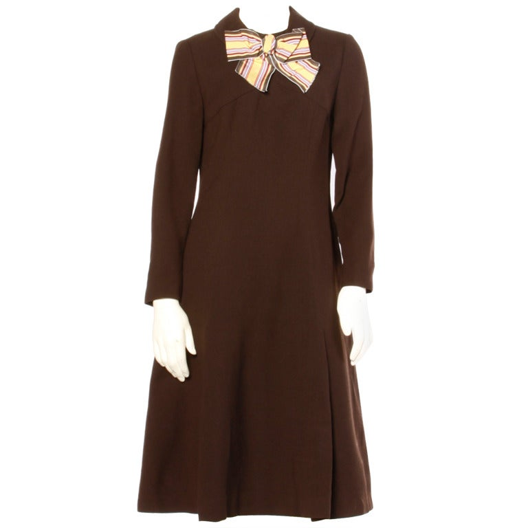 Adele Simpson Vintage 1960's 60s Striped Ascot Bow Tie Brown Crepe Dress 1