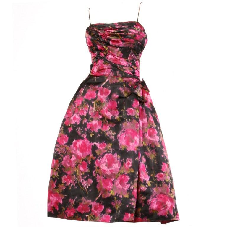 Vintage 1960 S 60s Pink Black Floral Print Silk Satin