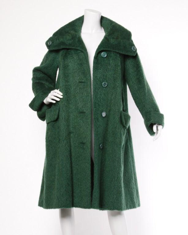 Christian Dior Original 60s Vintage Green Wool Swing Coat at 1stdibs
