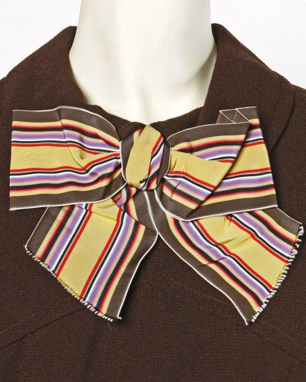Black Adele Simpson Vintage 1960's 60s Striped Ascot Bow Tie Brown Crepe Dress For Sale