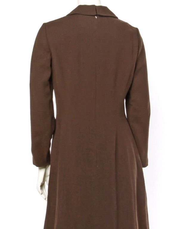 Adele Simpson Vintage 1960's 60s Striped Ascot Bow Tie Brown Crepe Dress In Excellent Condition For Sale In Sparks, NV