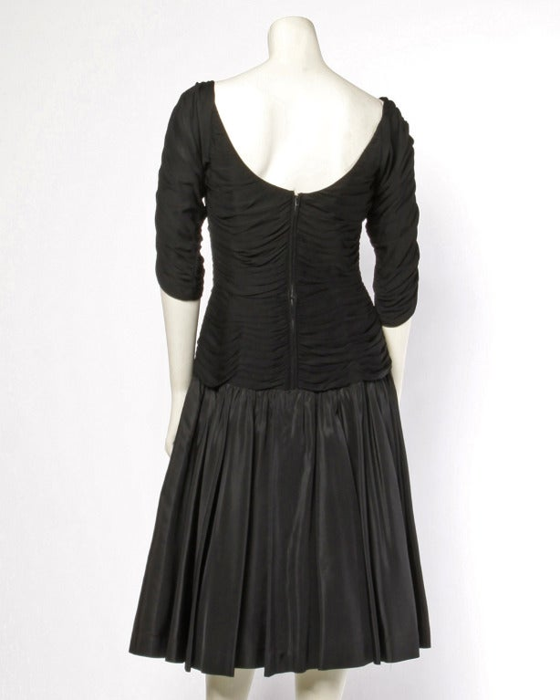 Vintage 1950's 50s Black Ruched Jersey Bodice Party Dress with a Drop Waist In Excellent Condition For Sale In Sparks, NV