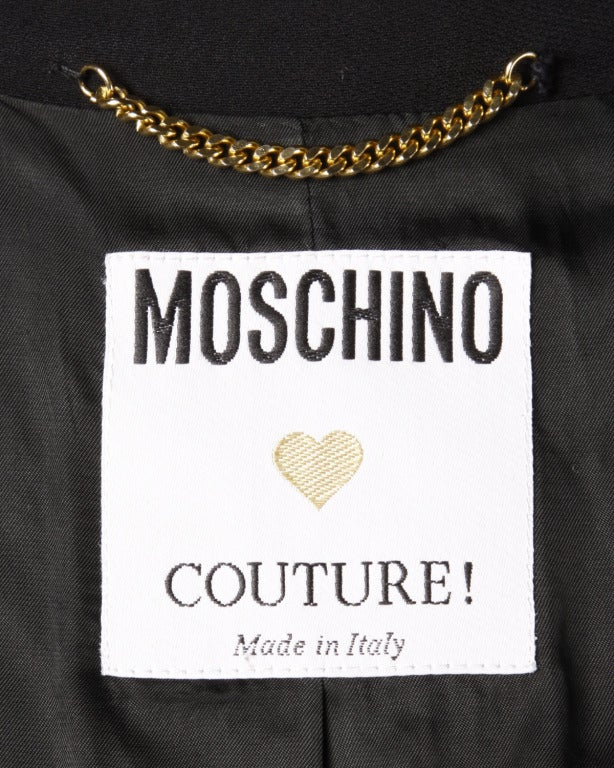 Moschino Couture 90s 1990s Black + White Military-Inspired Blazer Jacket 2