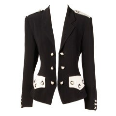 Moschino Couture 90s 1990s Black + White Military-Inspired Blazer Jacket