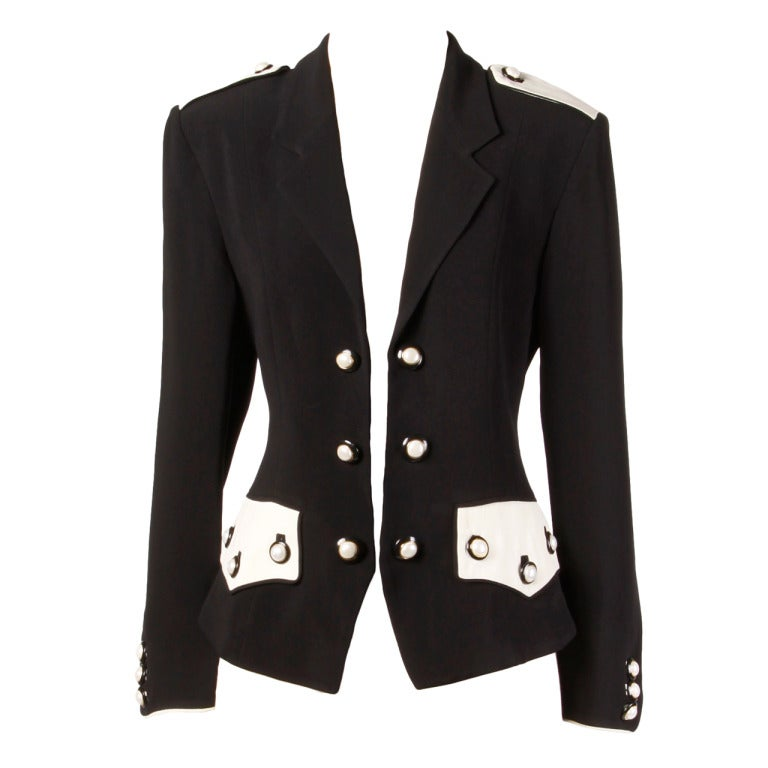 Moschino Couture 90s 1990s Black + White Military-Inspired Blazer Jacket 1