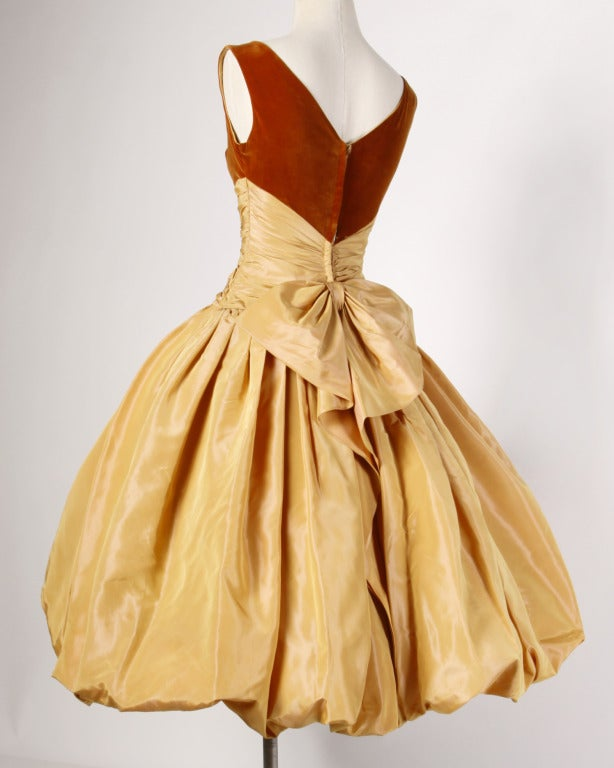 Vintage 1950s 50s Butterscotch Silk Taffeta Velvet Formal Cocktail Bubble Dress 2