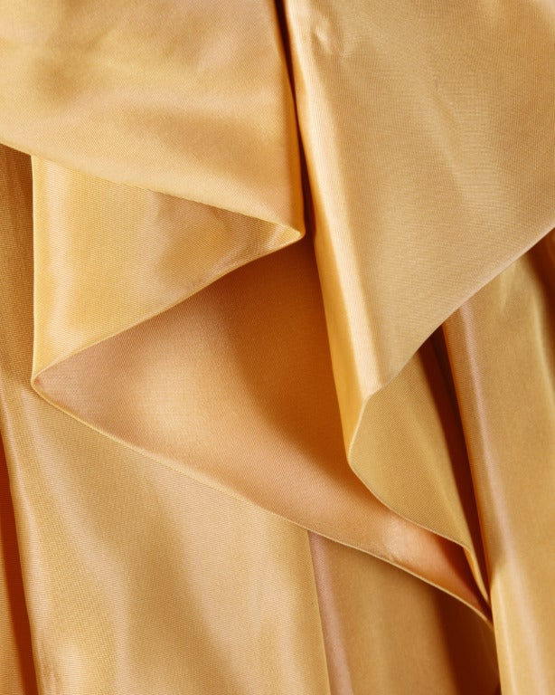Vintage 1950s 50s Butterscotch Silk Taffeta Velvet Formal Cocktail Bubble Dress 3
