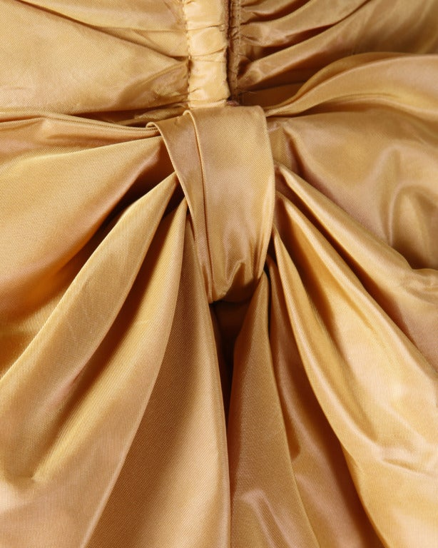 Vintage 1950s 50s Butterscotch Silk Taffeta Velvet Formal Cocktail Bubble Dress 4