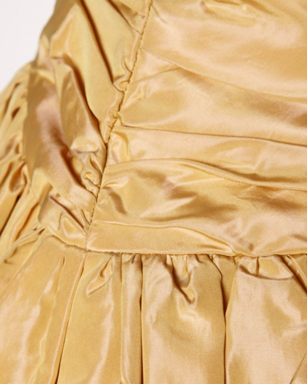 Vintage 1950s 50s Butterscotch Silk Taffeta Velvet Formal Cocktail Bubble Dress 5