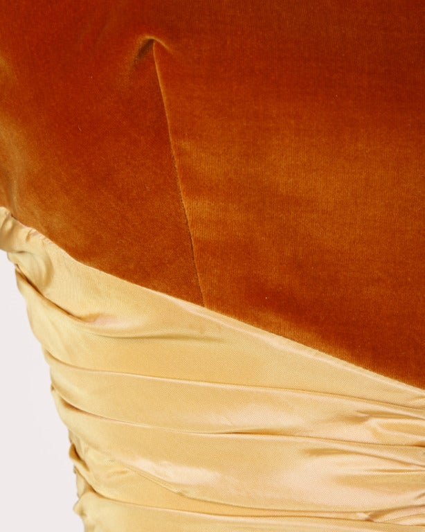 Vintage 1950s 50s Butterscotch Silk Taffeta Velvet Formal Cocktail Bubble Dress 7