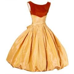 Vintage 1950s 50s Butterscotch Silk Taffeta Velvet Formal Cocktail Bubble Dress