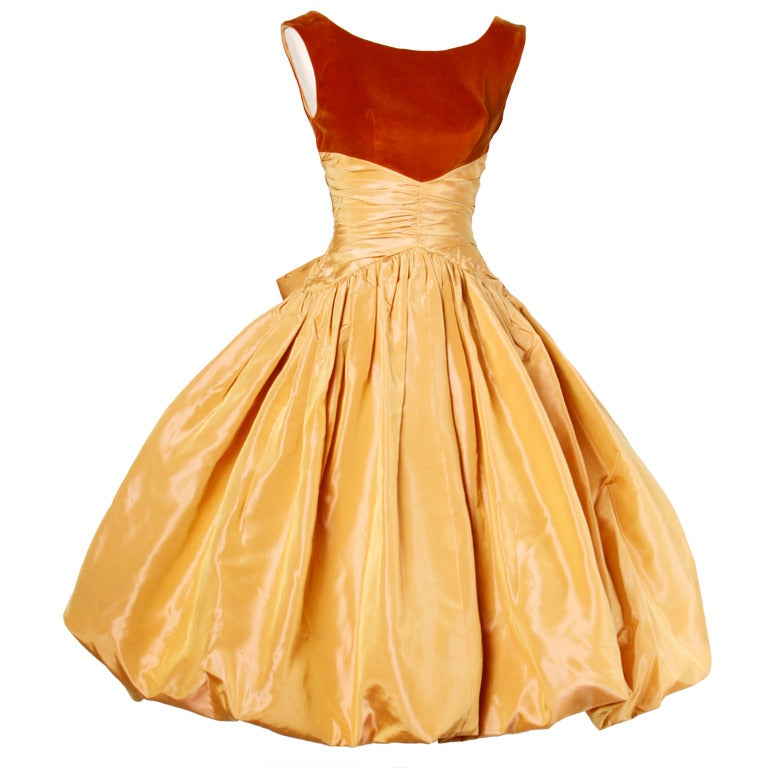 Vintage 1950s 50s Butterscotch Silk Taffeta Velvet Formal Cocktail Bubble Dress 1