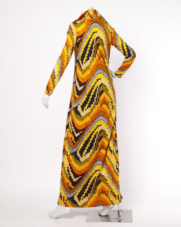 Rizkallah for Malcolm Starr Vintage 1970s 70s Op Art Pixel Print Maxi Dress 3
