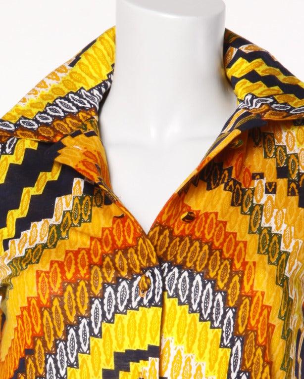 Rizkallah for Malcolm Starr Vintage 1970s 70s Op Art Pixel Print Maxi Dress 4