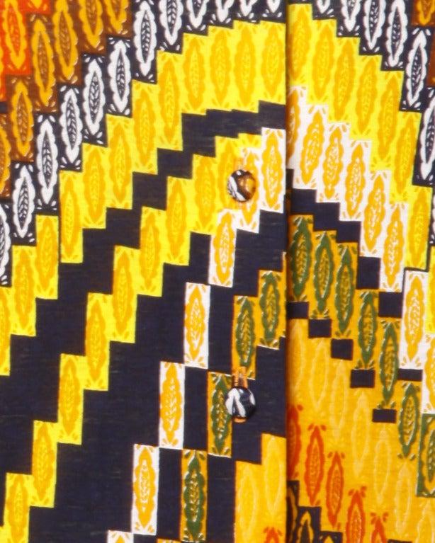 Rizkallah for Malcolm Starr Vintage 1970s 70s Op Art Pixel Print Maxi Dress 6