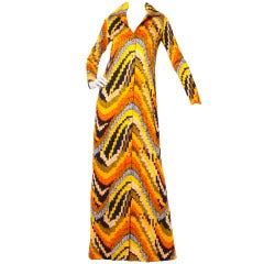 Rizkallah for Malcolm Starr Vintage 1970s 70s Op Art Pixel Print Maxi Dress