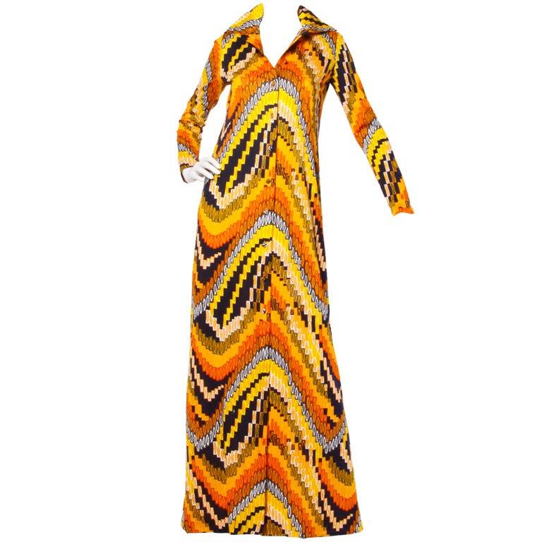 Rizkallah for Malcolm Starr Vintage 1970s 70s Op Art Pixel Print Maxi Dress