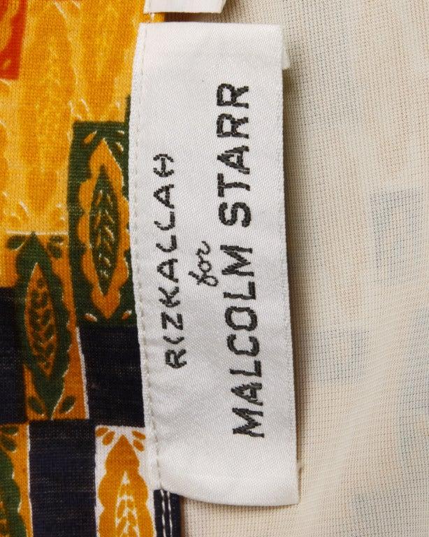 Rizkallah for Malcolm Starr Vintage 1970s 70s Op Art Pixel Print Maxi Dress 2