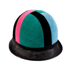 Yves Saint Laurent YSL 1960s 60s Colorblock Mod Mondrian Jockey Helmet Hat