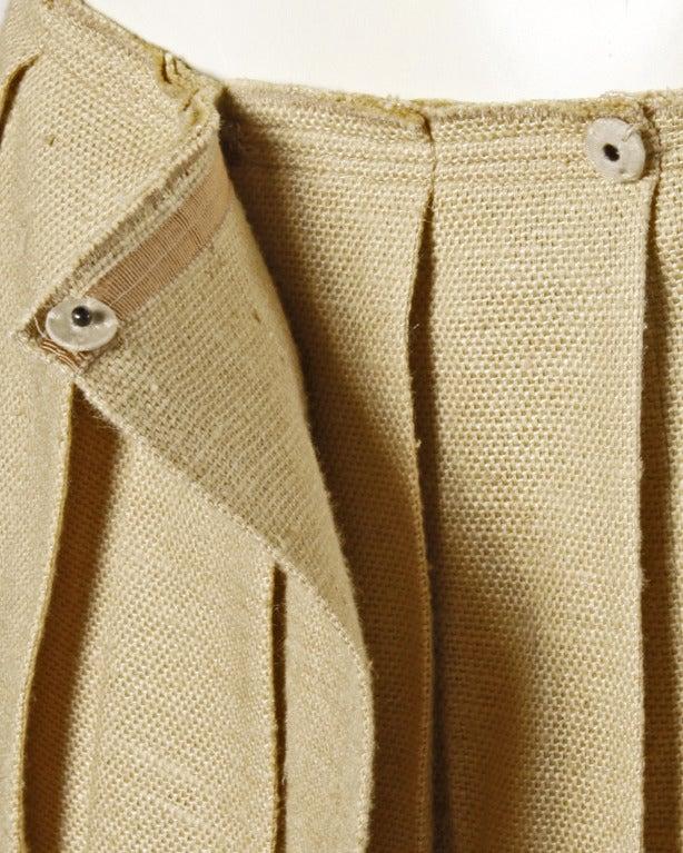 Prada 90s 1990s Neutral Tan Woven Burlap Pleated Wrap Skirt 3