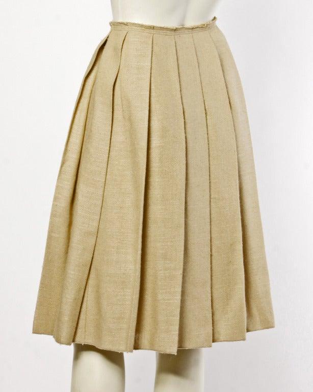 Prada 90s 1990s Neutral Tan Woven Burlap Pleated Wrap Skirt 4