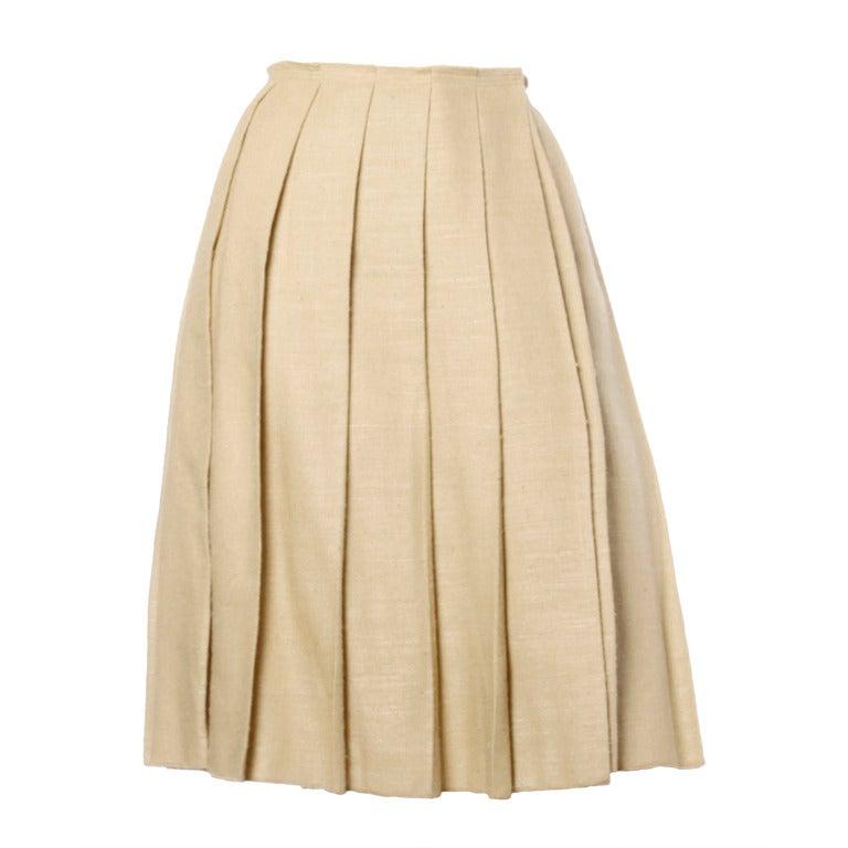 Prada 90s 1990s Neutral Tan Woven Burlap Pleated Wrap Skirt 1