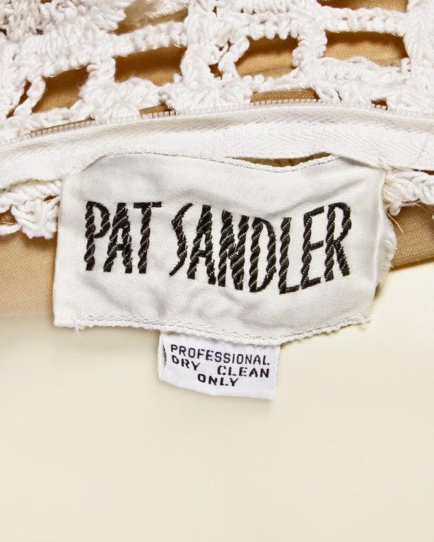 Pat Sandler Vintage 1970s 70s Crochet Lace Nude Illusion