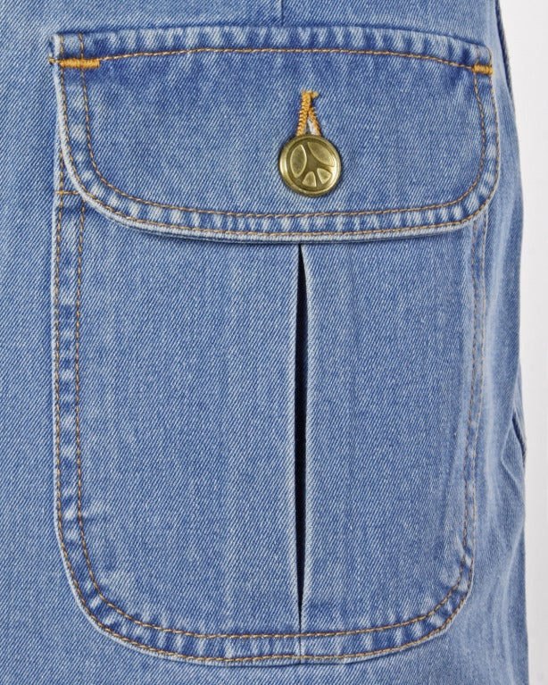 Moschino Jeans 1990s 90s Chambray Denim Zip Up Mini Skirt- Peace Sign Buttons 2
