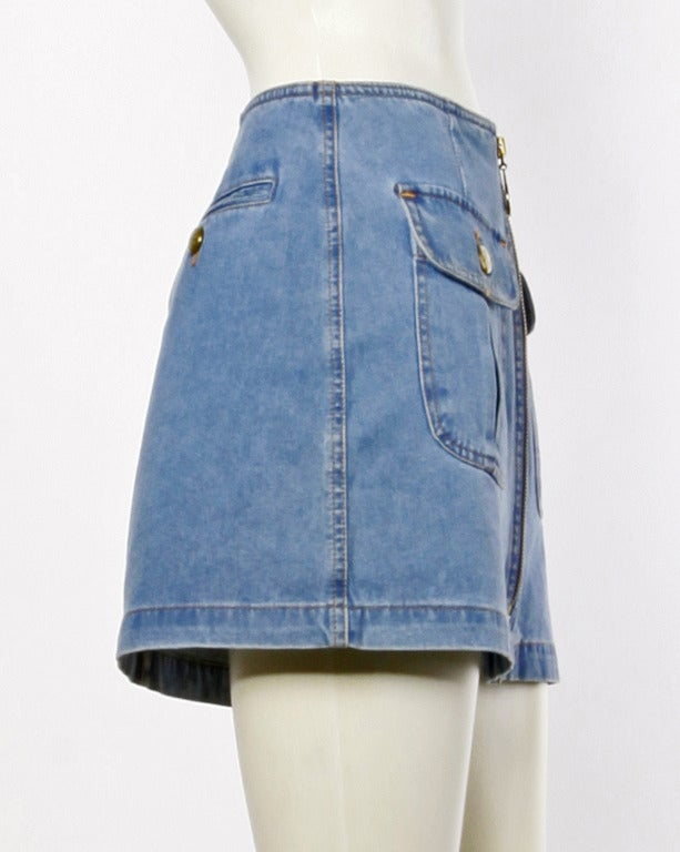 Moschino Jeans 1990s 90s Chambray Denim Zip Up Mini Skirt- Peace Sign Buttons 3