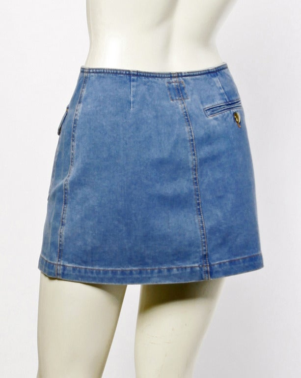 Moschino Jeans 1990s 90s Chambray Denim Zip Up Mini Skirt- Peace Sign Buttons 5