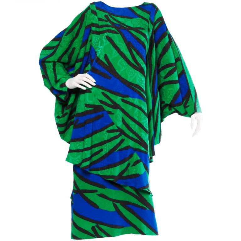 Avant Garde Vintage 1980s 80s Silk Cocoon Batwing Dress in Bright Green & Blue