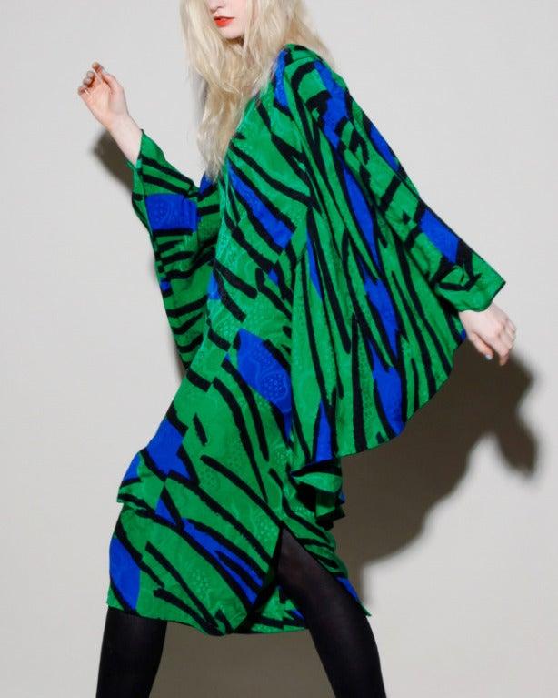 Avant Garde Vintage 1980s 80s Silk Cocoon Batwing Dress In