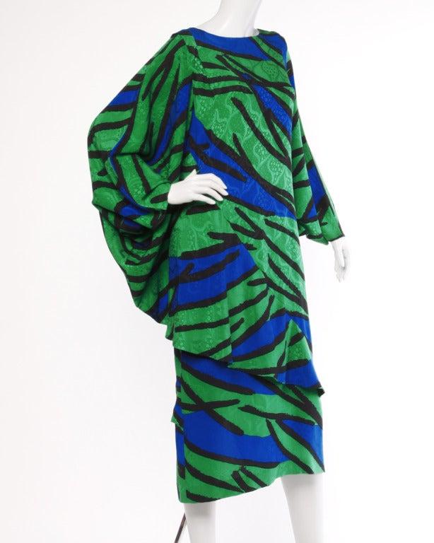 Avant Garde Vintage 1980s 80s Silk Cocoon Batwing Dress in Bright Green & Blue 1