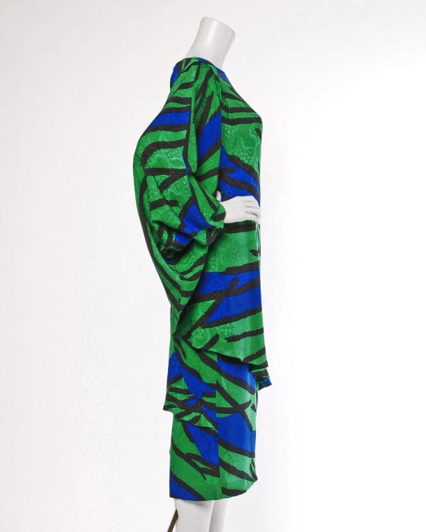 Avant Garde Vintage 1980s 80s Silk Cocoon Batwing Dress in Bright Green & Blue 2