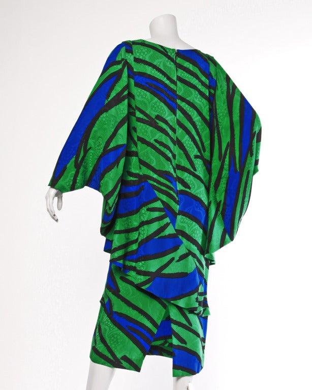 Avant Garde Vintage 1980s 80s Silk Cocoon Batwing Dress in Bright Green & Blue 3