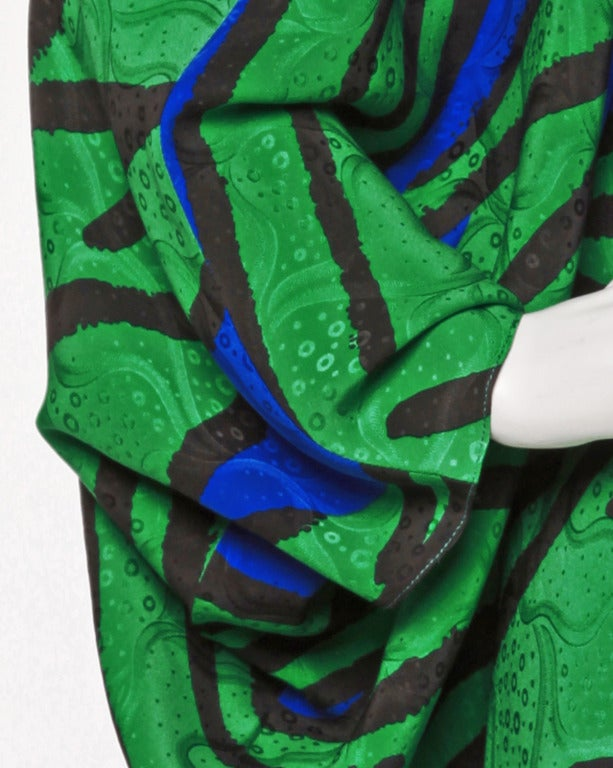 Avant Garde Vintage 1980s 80s Silk Cocoon Batwing Dress in Bright Green & Blue 4