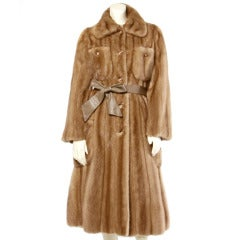 Geoffrey Beene Vintage 1970s 70s Mink Fur Coat with Leather Belt