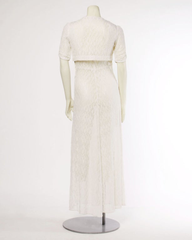 Vintage 1930s 30s Sheer Lace Wedding Maxi Dress With