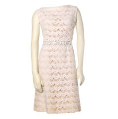 Vintage 1960s 60s Victor Costa Nude Illusion Scallop Lace Beaded Sheath Dress