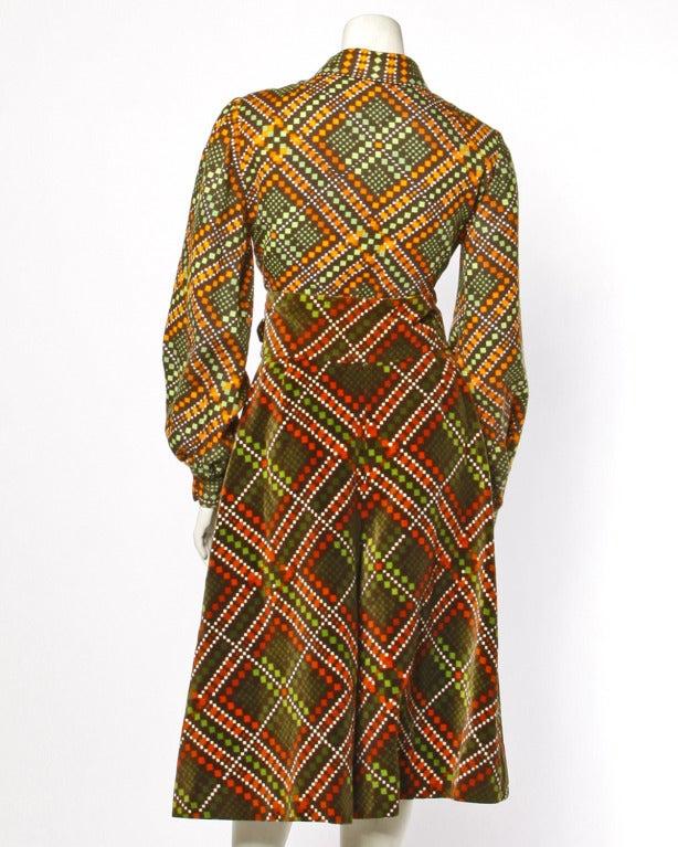 Brown Elinor Simmons for Malcolm Starr Vintage Velvet Gaucho Pants + Blouse Set For Sale