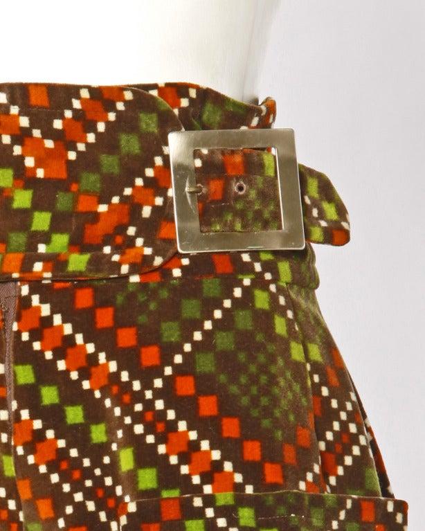 Elinor Simmons for Malcolm Starr Vintage Velvet Gaucho Pants + Blouse Set For Sale 1