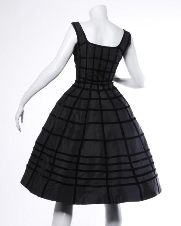 Vintage 1950s 50s Black Velvet + Taffeta Cocktail Party Dress with Full Sweep 3