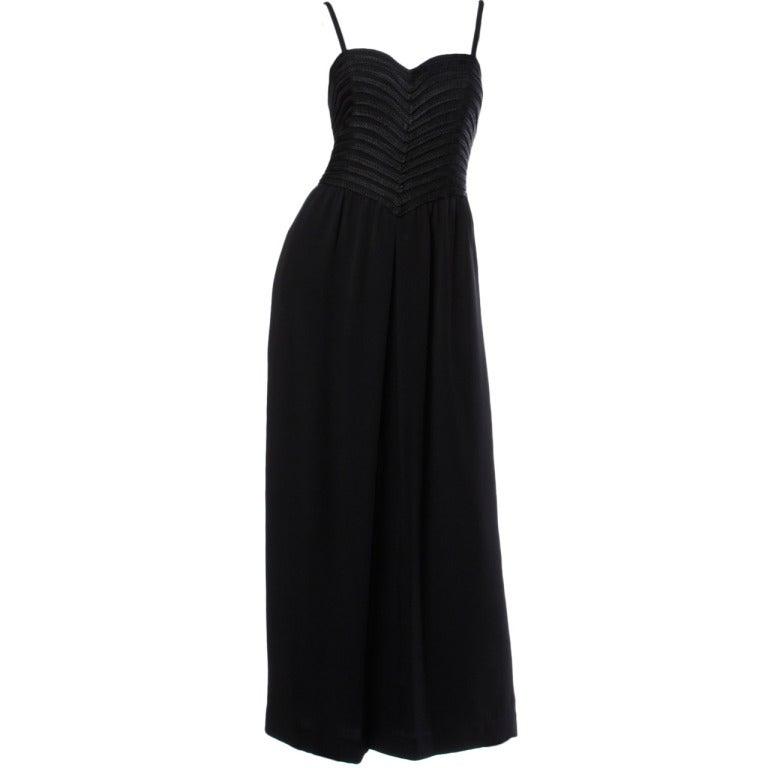 Krizia Vintage Braided Silk Bodice Black Formal Maxi Dress