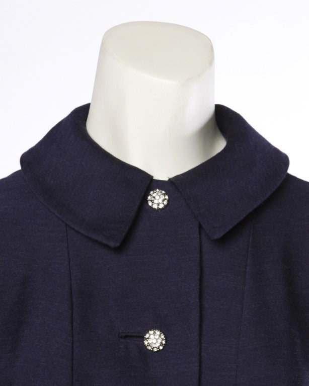 Vintage 1950's 50s Navy Blue Wool New Look Coat Dress with Rhinestone Buttons 3